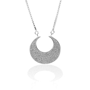 Crescent Moon Shaped Pendant Necklace and Earrings Set - ARJW1001RD
