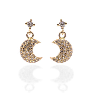 Crescent Moon Shaped Pendant Necklace and Earrings Set - ARJW1001GD