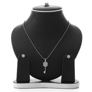 Key to My Heart Pendant Necklace and Earrings Set - ARJW1012RD