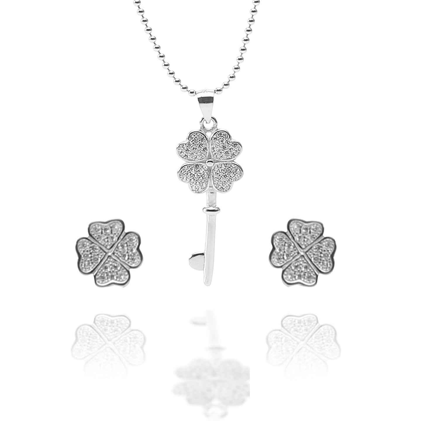 Key to My Heart Pendant Necklace and Earrings Set - ARJW1012RD - ARCADIO LIFESTYLE