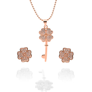 Key to My Heart Pendant Necklace and Earrings Set - ARJW1012RG