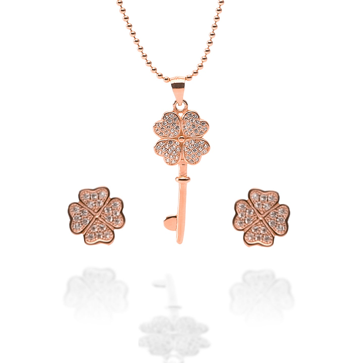Key to My Heart Pendant Necklace and Earrings Set - ARJW1012RG - ARCADIO LIFESTYLE