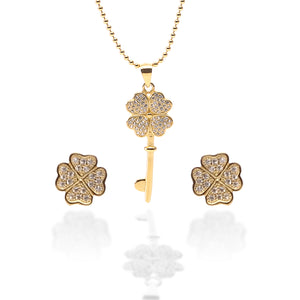 Key To My Heart Pendant Necklace and Earrings Set - ARJW1012GD