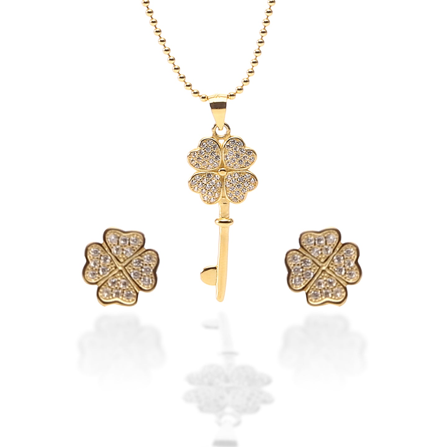 Key To My Heart Pendant Necklace and Earrings Set - ARJW1012GD - ARCADIO LIFESTYLE
