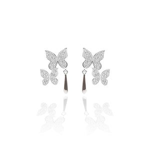 Butterfly Pendant Necklace and Earring Set - ARJW1017RD