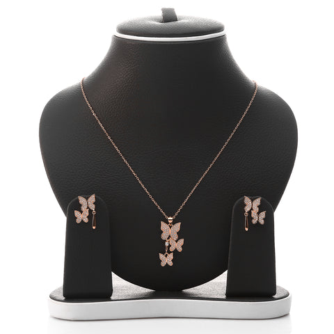 Butterfly Pendant Necklace and Earring Set - ARJW1017RG - ARCADIO LIFESTYLE