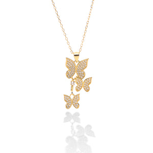 Butterfly Pendant Necklace and Earring Set - ARJW1017GD