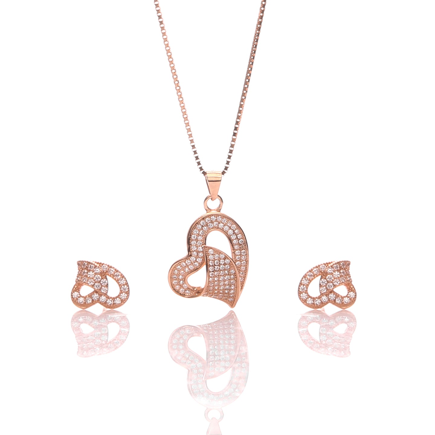 Classic One Sided Bent Heart Shaped Pendant Necklace and Earrings Set - ARJW1014RG - ARCADIO LIFESTYLE