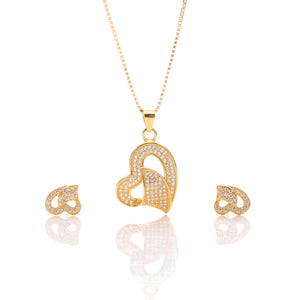 Classic One Sided Bent Heart Shaped Pendant Necklace and Earrings Set - ARJW1014GD