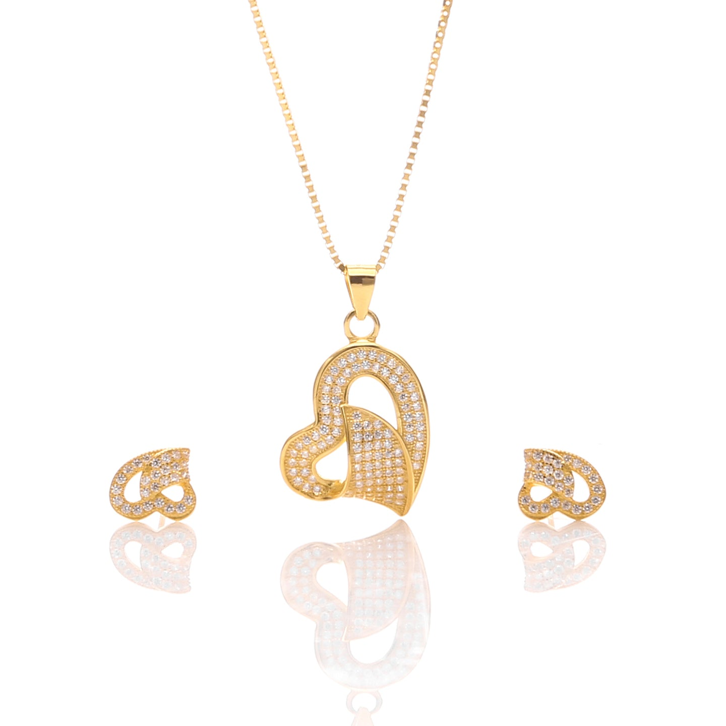 Classic One Sided Bent Heart Shaped Pendant Necklace and Earrings Set - ARJW1014GD - ARCADIO LIFESTYLE