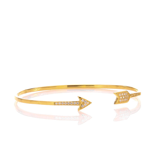 Hoops and Loops High Polished Arrow Wrap Cuff Bangle Bracelet - ARJWDB1059GD