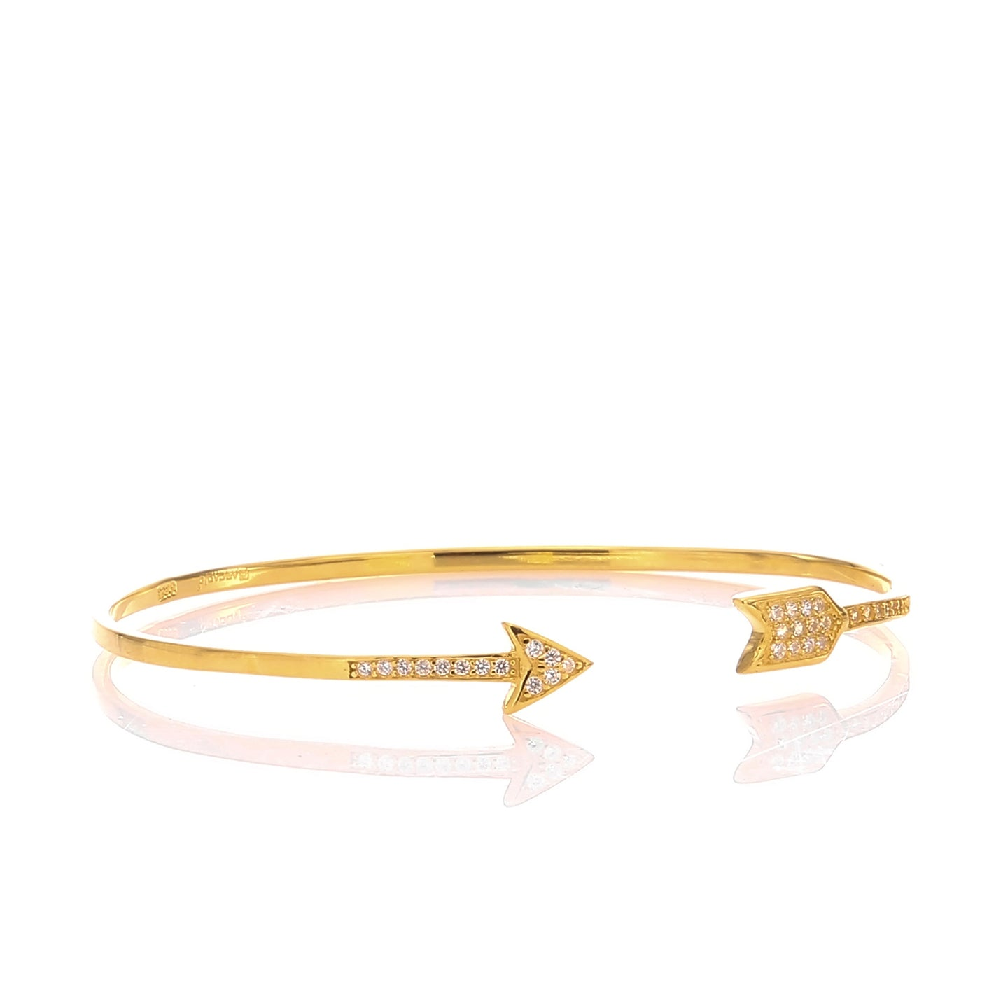 Hoops and Loops High Polished Arrow Wrap Cuff Bangle Bracelet - ARJWDB1059GD - ARCADIO LIFESTYLE