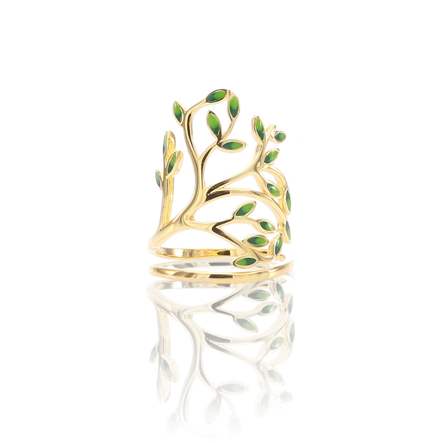 Tree of Life Open Adjustable Ring - ARJWR1038GD - ARCADIO LIFESTYLE