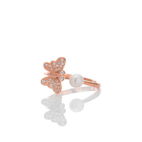 Butterfly White with CZ Pearl Expandable Open Adjustable Ring - ARJWR1034RG