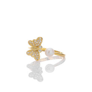 Butterfly with White CZ pearl Expandable Open Adjustable Ring - ARJWR1034GD
