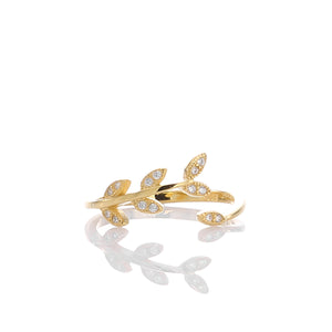 Sparkling Laurel Leaves Adjustable Ring - ARJWR1040GD - ARCADIO LIFESTYLE