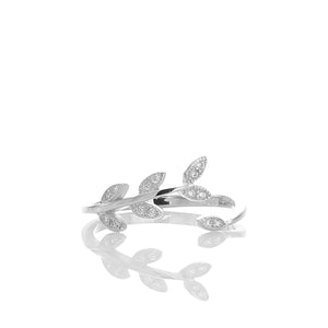 Sparkling Laurel Leaves Adjustable Ring - ARJWR1040RD - ARCADIO LIFESTYLE