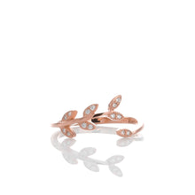 Sparkling Laurel Leaves Adjustable Ring - ARJWR1040RG - ARCADIO LIFESTYLE
