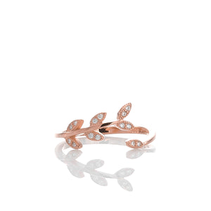 Sparkling Laurel Leaves Adjustable Ring - ARJWR1040RG