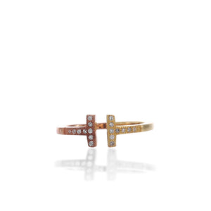 Two - Tone Delicate Double Bar T Adjustable Ring - ARJWR1042GD