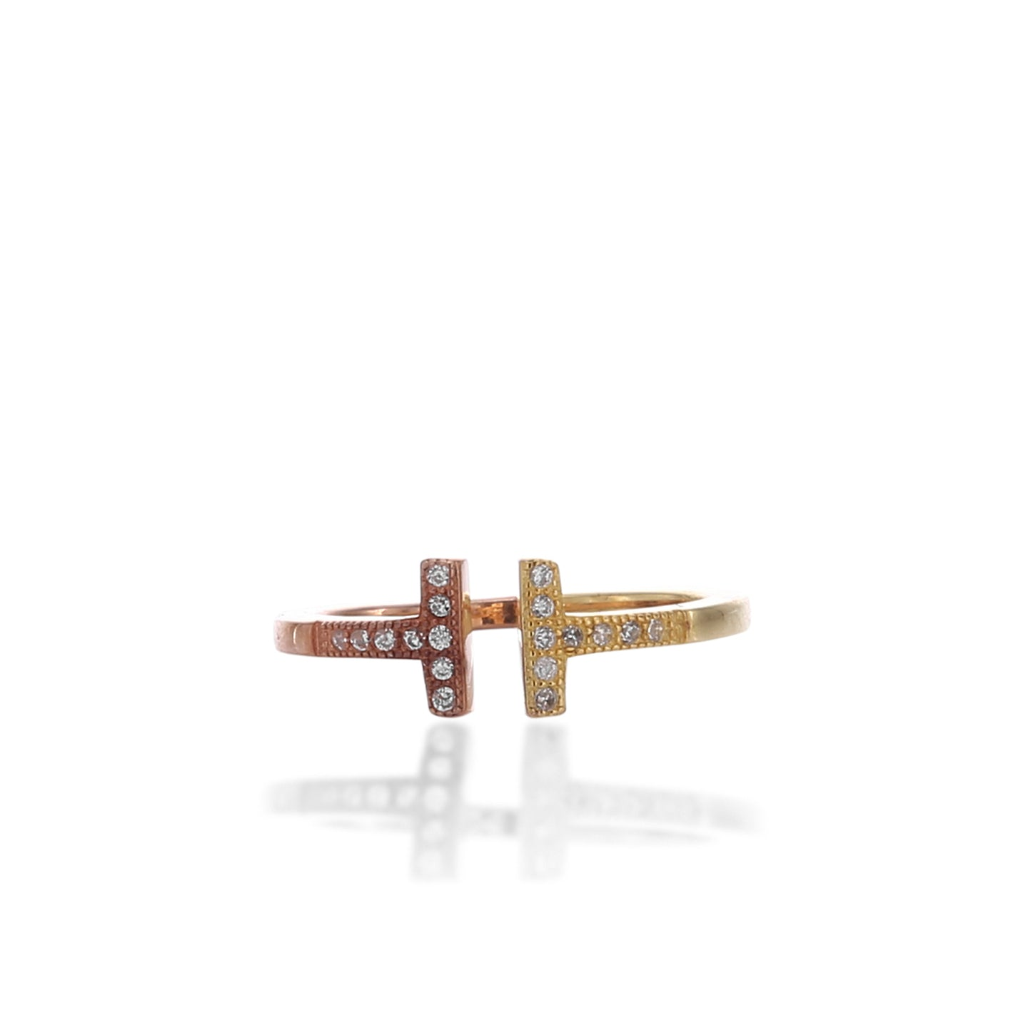 Two - Tone Delicate Double Bar T Adjustable Ring - ARJWR1042GD - ARCADIO LIFESTYLE