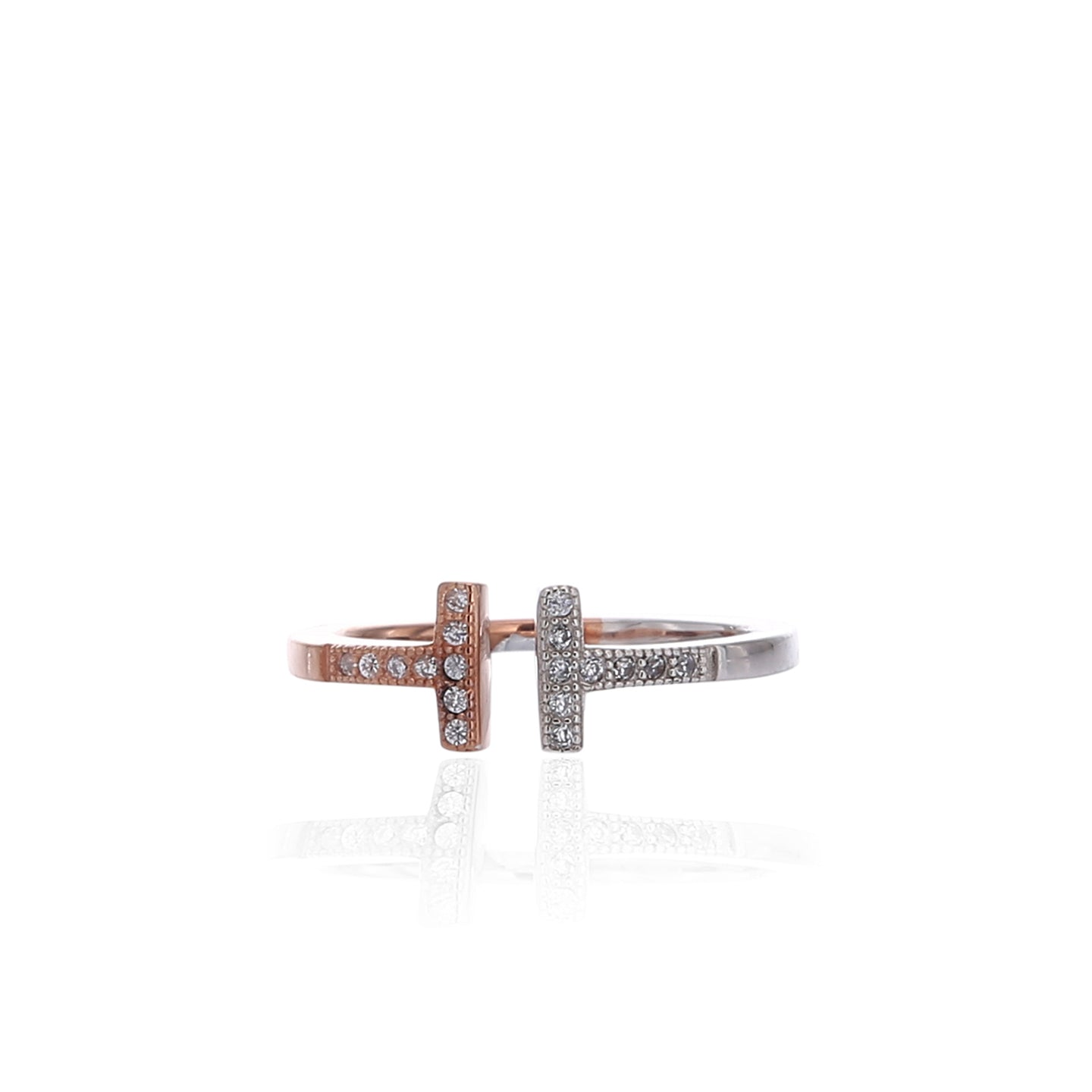 Two - Tone Delicate Double Bar T Adjustable Ring - ARJWR1042RD
