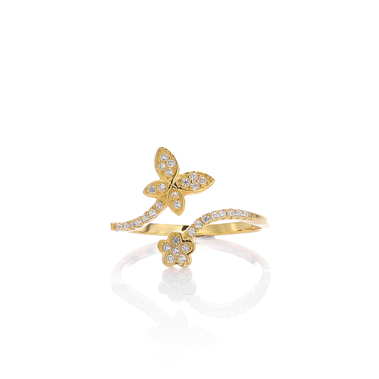 Butterfly Expandable Open Adjustable Ring - ARJWR1037GD - ARCADIO LIFESTYLE