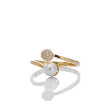 Luminous Glow White Crystal and Pearl Adjustable Ring - ARJWR1039GD - ARCADIO LIFESTYLE