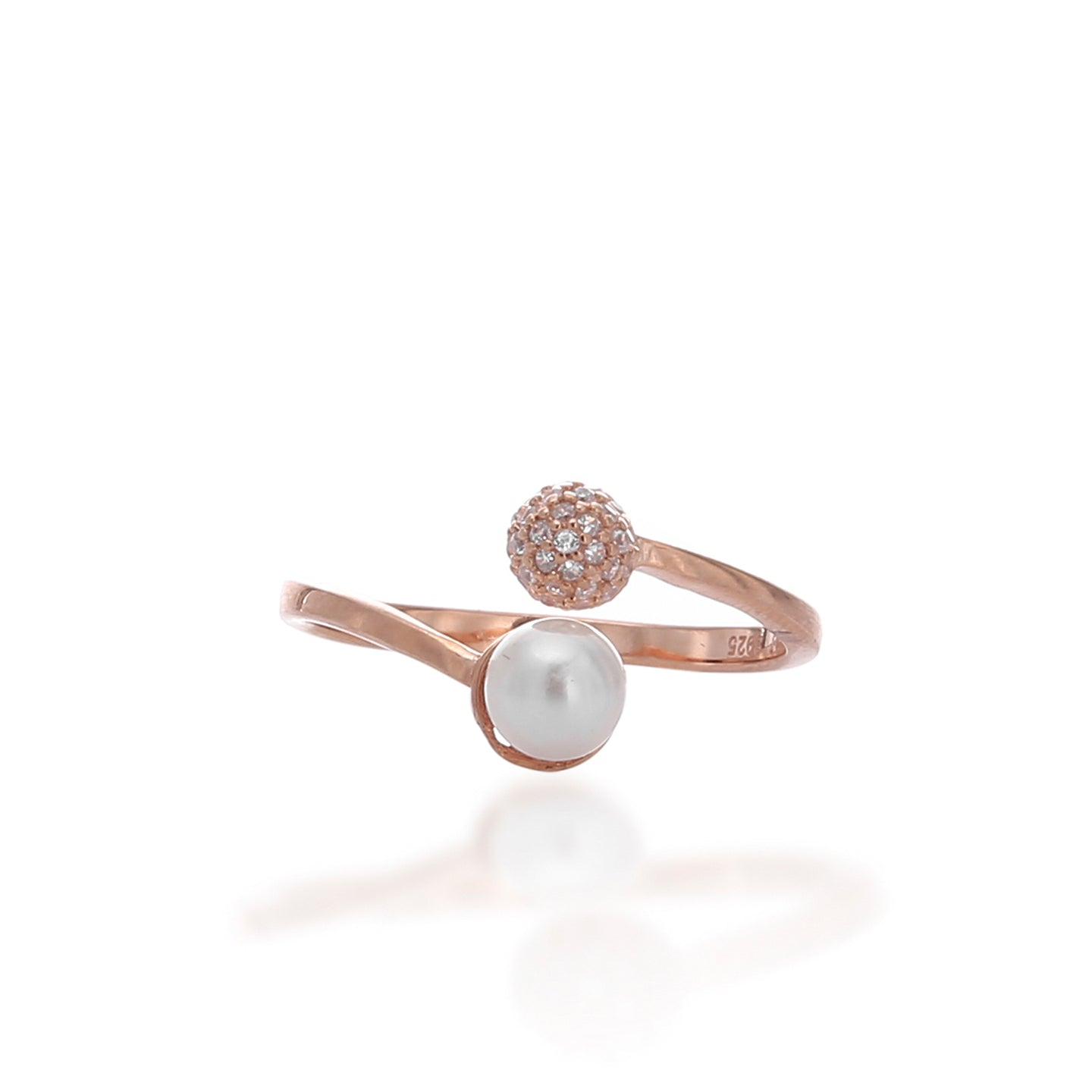 Luminous Glow White Crystal and Pearl Adjustable Ring - ARJWR1039RG - ARCADIO LIFESTYLE