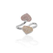 Twin Hearts Adjustable Ring - ARJWR1062RD
