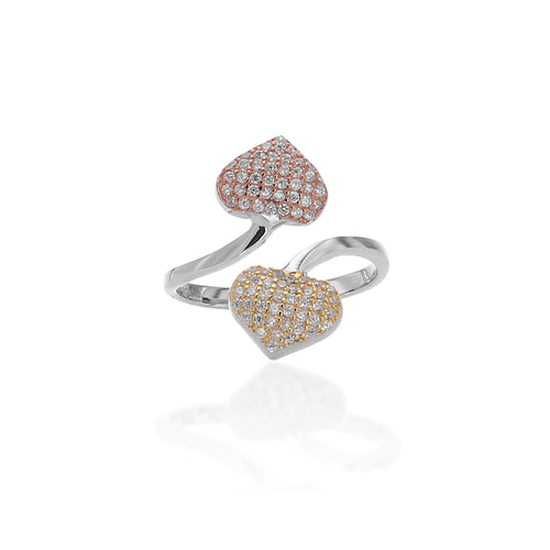 Twin Hearts Adjustable Ring - ARJWR1062RD - ARCADIO LIFESTYLE