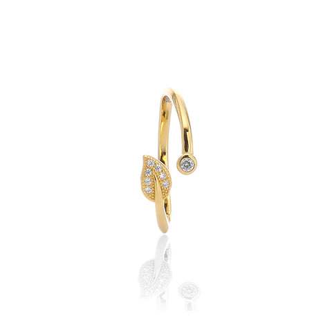 Olive Leaf Fashion Adjustable Ring - ARJWR1033GD - ARCADIO LIFESTYLE