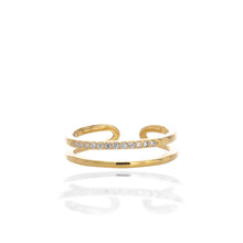 Double Band Open Adjustable Ring - ARJWR1064GD