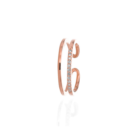 Double Band Open Adjustable Ring - ARJWR1064RG