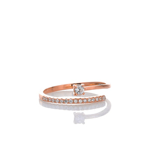 Open Cubic Zirconia Gemstones Adjustable Ring - ARJWR1036RG - ARCADIO LIFESTYLE
