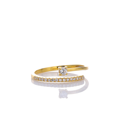 Open Cubic Zirconia Gemstones Adjustable Ring - ARJWR1036GD - ARCADIO LIFESTYLE