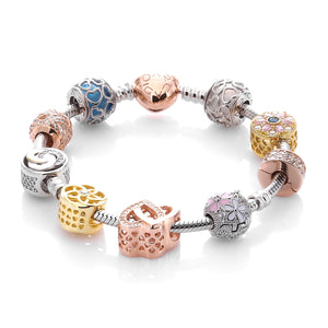Charm Bracelet with ARCADIO Rose Heart Clasp and Nine Charms - ARJWVB1044RD - ARCADIO LIFESTYLE