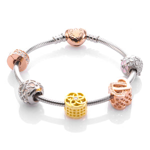 Charm Bracelet with ARCADIO Rose Heart Clasp and Five Charms - ARJWVB1047RD - ARCADIO LIFESTYLE