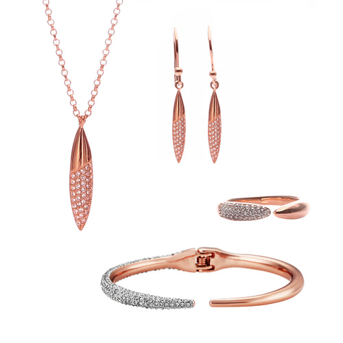 Edgware Pave Drop Jewellery Set - ARJW1028RG - ARCADIO LIFESTYLE