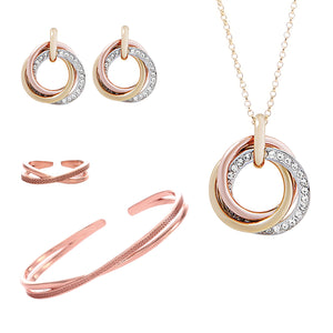 Russian Sparkle Trio Jewellery Set - ARJW1029RG - ARCADIO LIFESTYLE