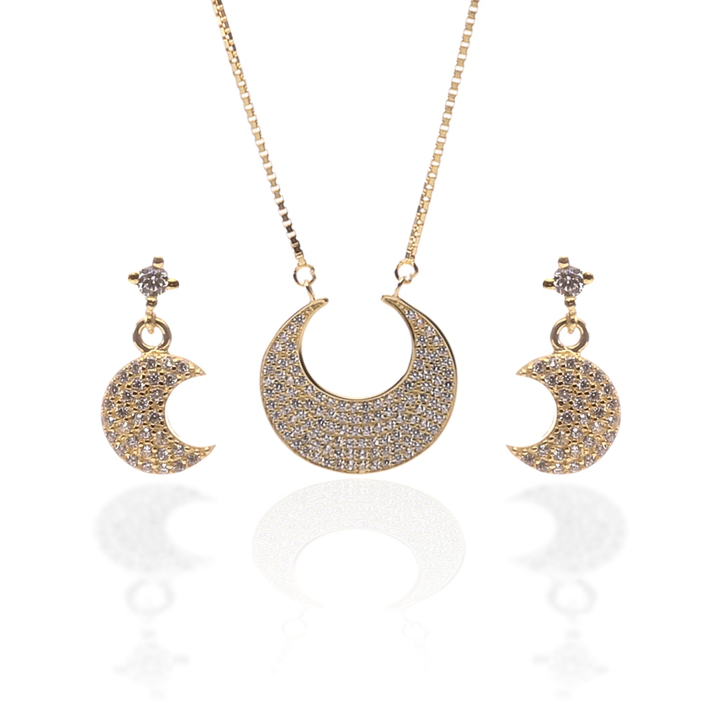 Crescent Moon Shaped Pendant Necklace and Earrings Set - ARJW1001GD - ARCADIO LIFESTYLE