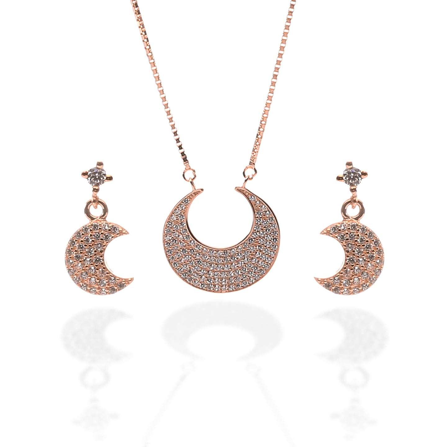 Crescent Moon Shaped Pendant Necklace and Earring Set - ARJW1001RG