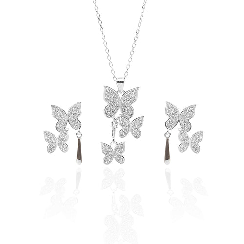Butterfly Pendant Necklace and Earring Set - ARJW1017RD - ARCADIO LIFESTYLE