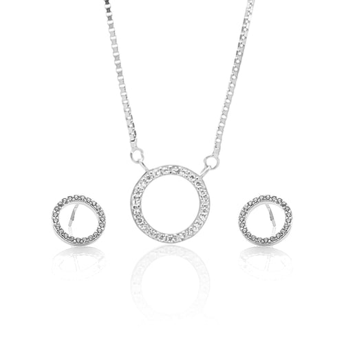 Circle of Life Pendant Necklace and Earrings Set - ARJW1021RD - ARCADIO LIFESTYLE