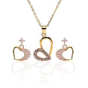 Heart Swirls Pendant and Earrings Set - ARJW1006GD-RG