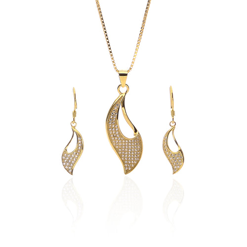 Aphrodite Designer Pendant Necklace and Earrings Set - ARJW1016GD