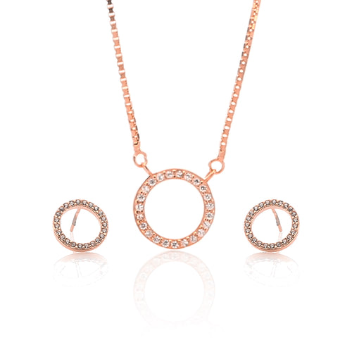 Circle of Life Pendant Necklace and Earrings Set - ARJW1021RG - ARCADIO LIFESTYLE