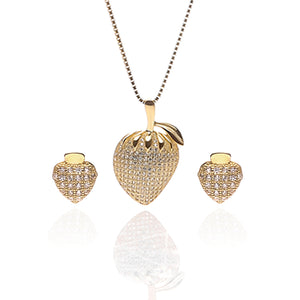 Strawberry Fruit Pendant Necklace and Earrings Set - ARJW1013GD