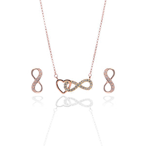 Infinite Love Pendant Necklace and Earrings Set - ARJW1023RG