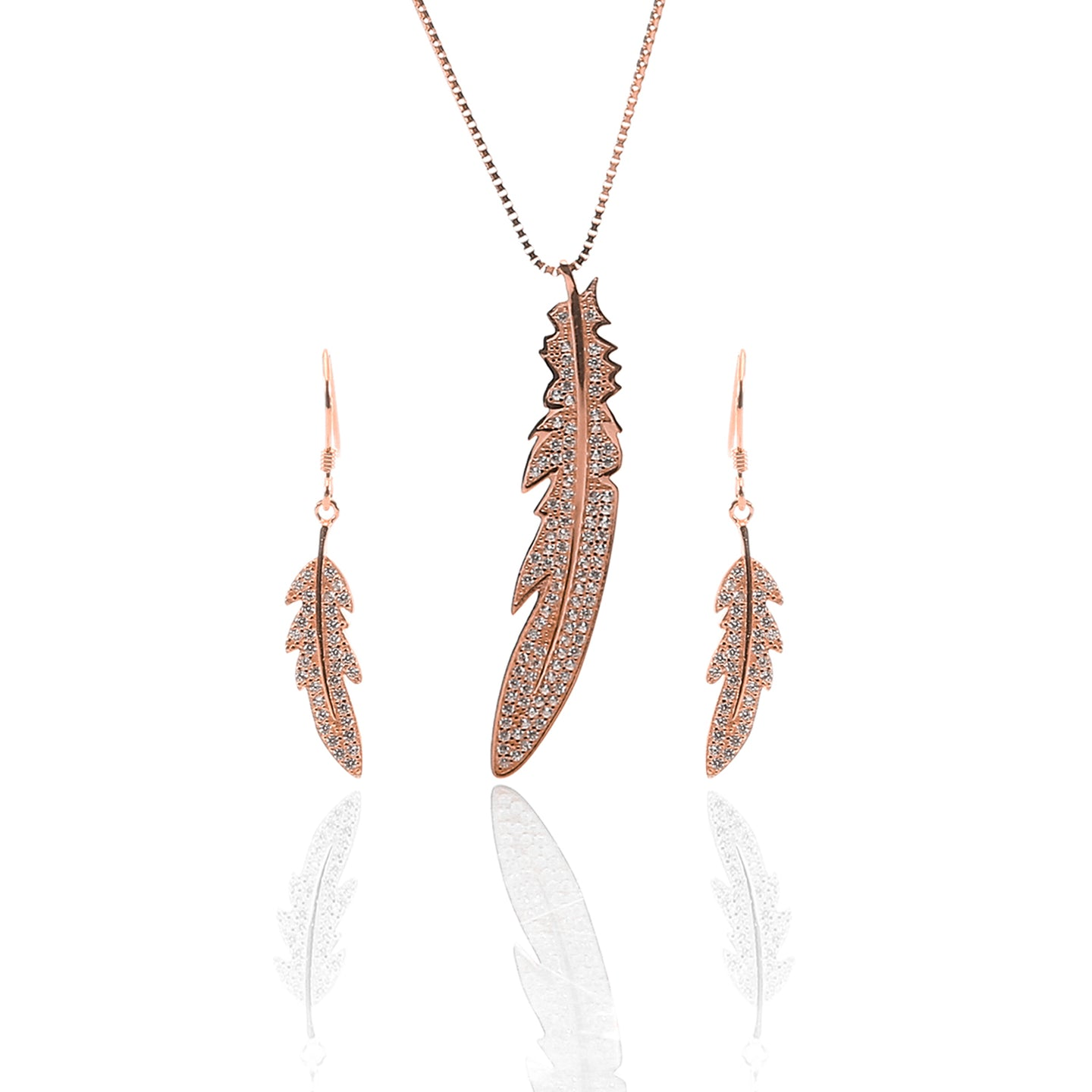 Feather Pendant Necklace and Earring Set - ARJW1015RG - ARCADIO LIFESTYLE